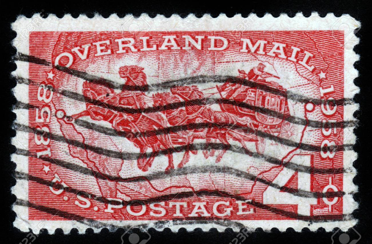UNITED STATES OF AMERICA - CIRCA 1958: A stamp printed in USA ,   shows horse carriage postage , celebrating 100 years of overland mail circa 1958 Stock Photo - 14849138