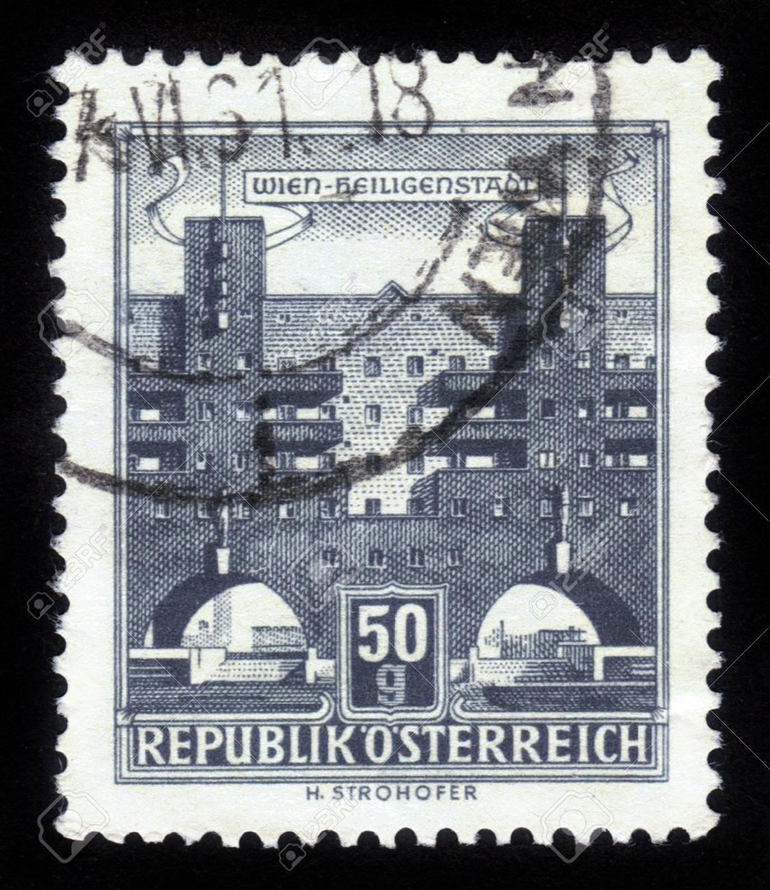 AUSTRIA - CIRCA 1962  A stamp printed in Austria shows Heiligenstadt, the 19th district of Vienna, circa 1962 Stock Photo - 14857929