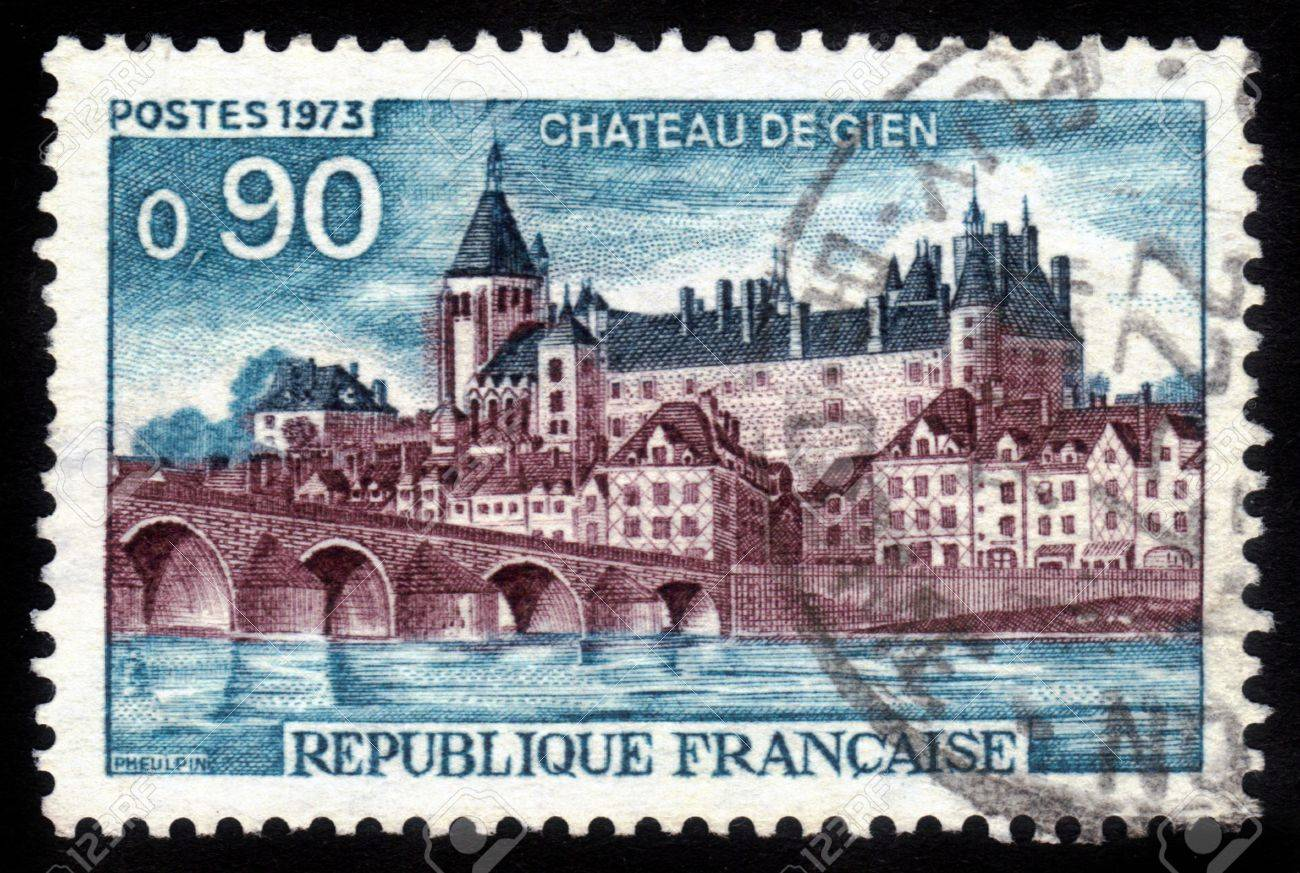 FRANCE - CIRCA 1973  a stamp printed in the France shows Gien Chateau  Castle Gen , Loiret Department, France, circa 1973 Stock Photo - 15132764