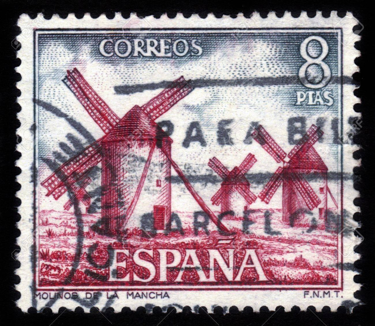 SPAIN - CIRCA 1973  A stamp printed by Spain, shows windmills of La Mancha  Spain , circa 1973 Stock Photo - 15132761