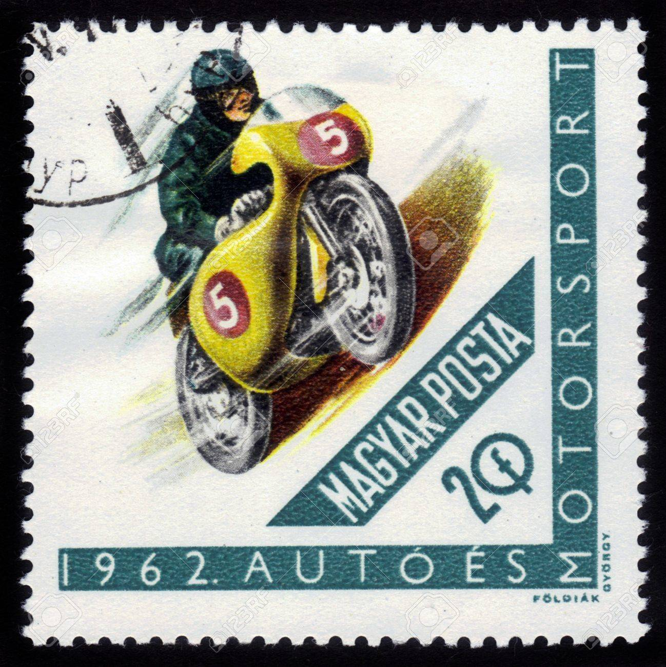 HUNGARY - CIRCA 1962: A stamps printed in Hungary showing racing motorcycle, series, circa 1962 Stock Photo - 15347336