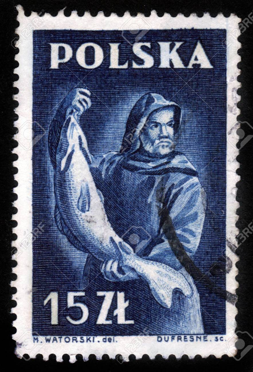 POLAND - CIRCA 1950s: A stamp printed in Poland shows a fisherman holding a large fish, circa 1950s. Stock Photo - 15485081