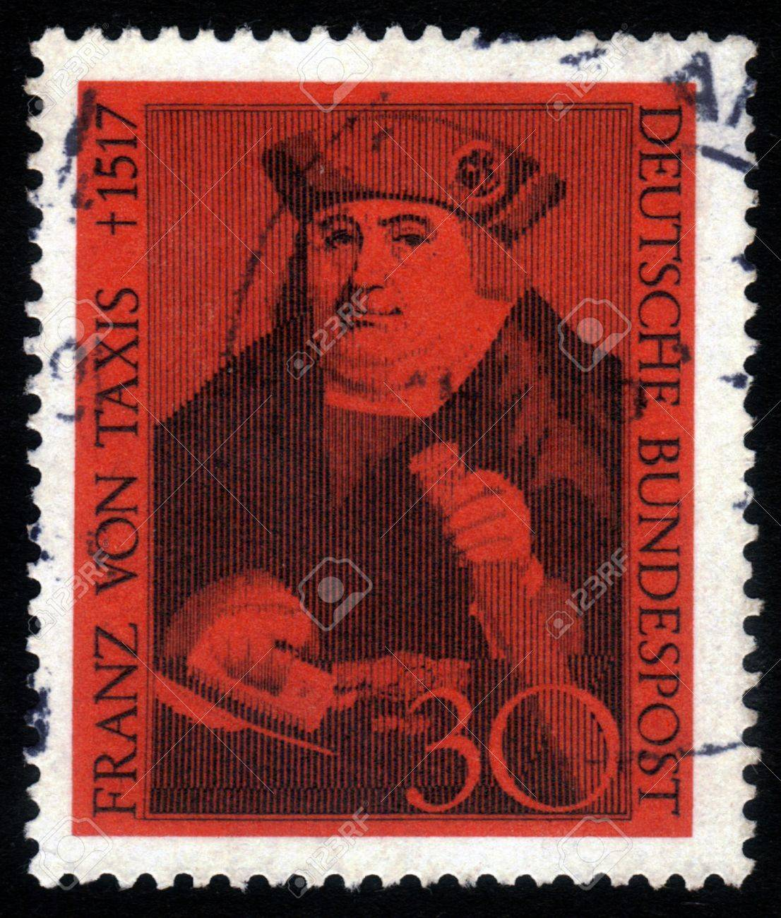 GERMANY - CIRCA 1967: A stamp printed in the Germany shows Franz von Taxis, founder of the Taxis postal system, circa 1967 Stock Photo - 15641718