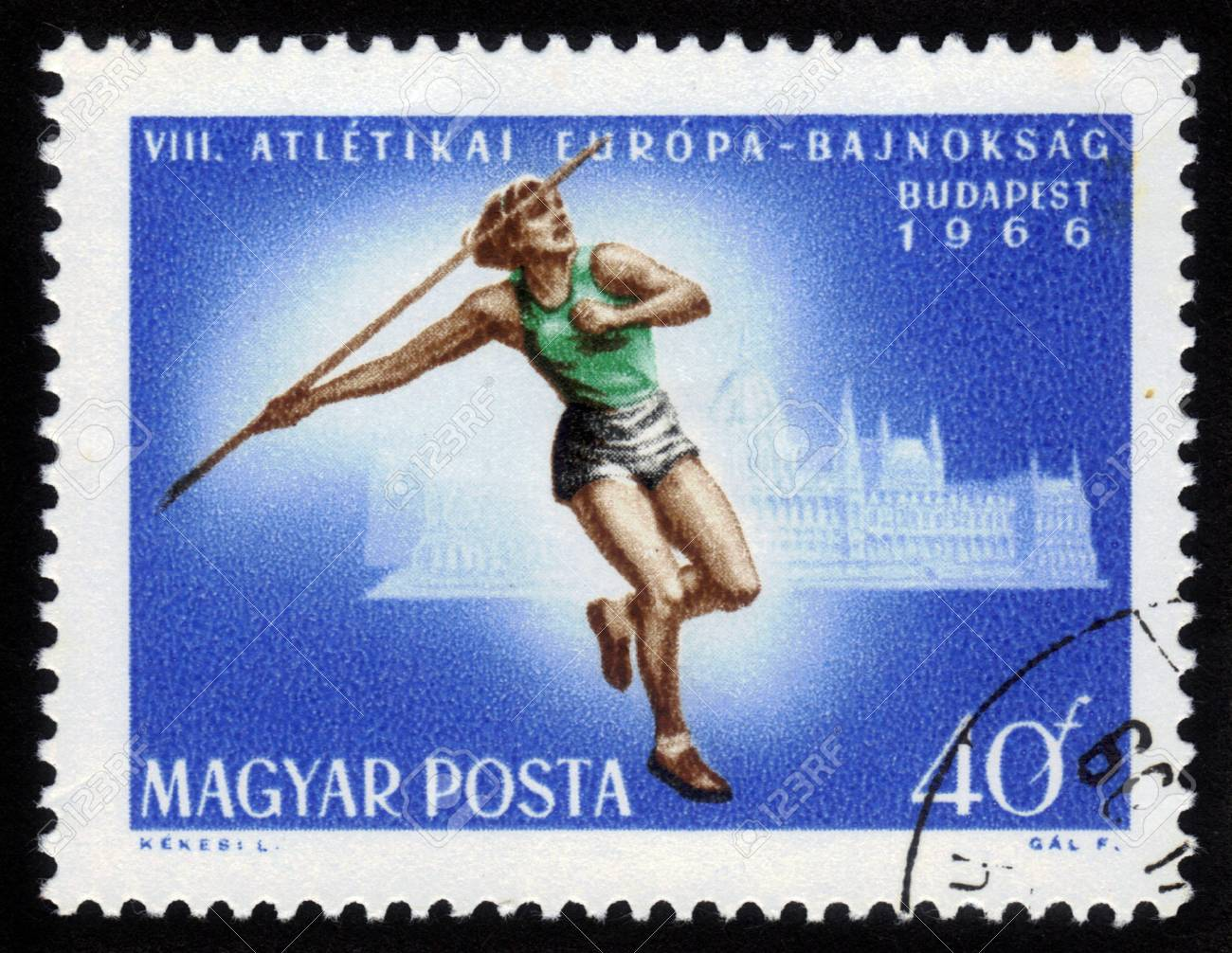 HUNGARY - CIRCA 1966: A stamp printed in Hungary shows javelin thrower with inscription and name of series