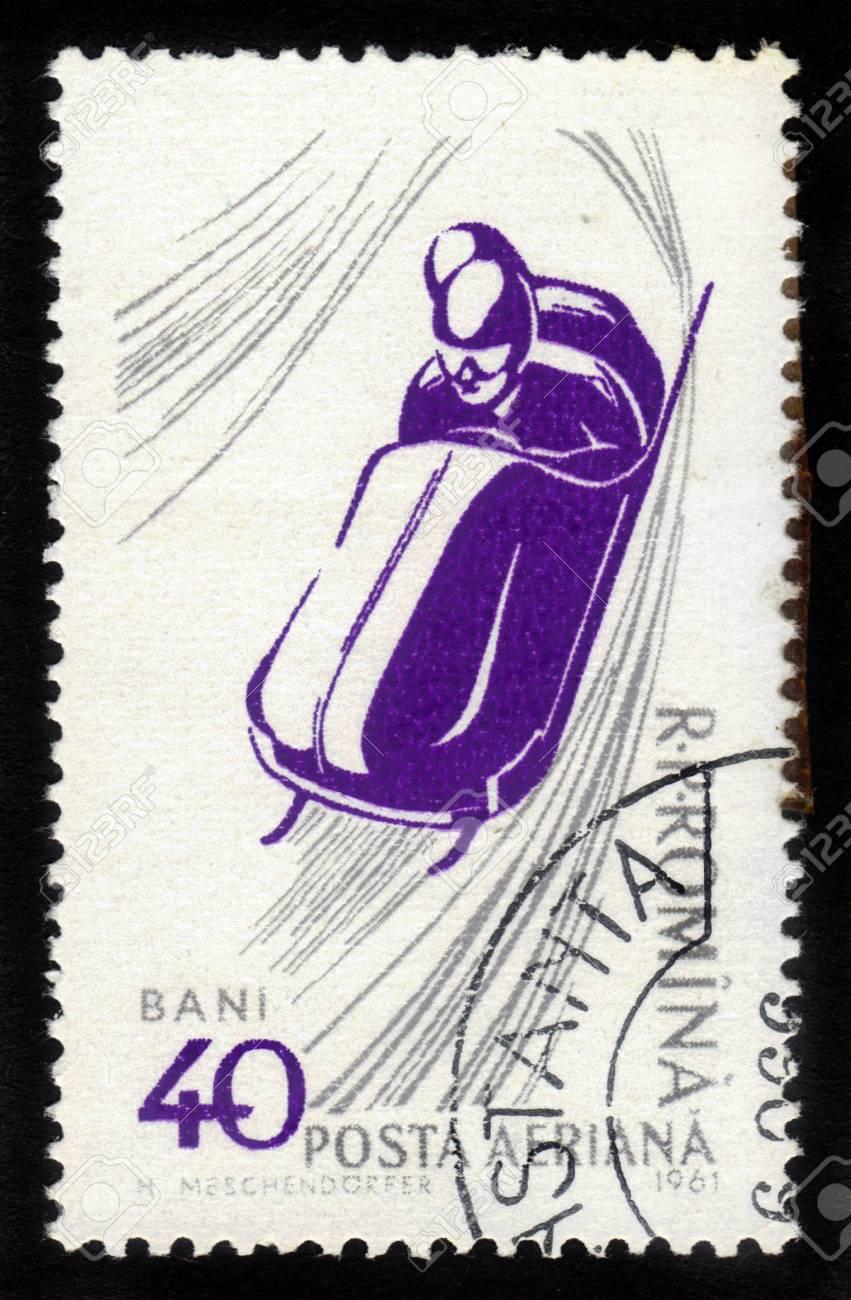 ROMANIA - CIRCA 1961: stamp printed by Romania, show bobsled, circa 1961. Stock Photo - 15819662