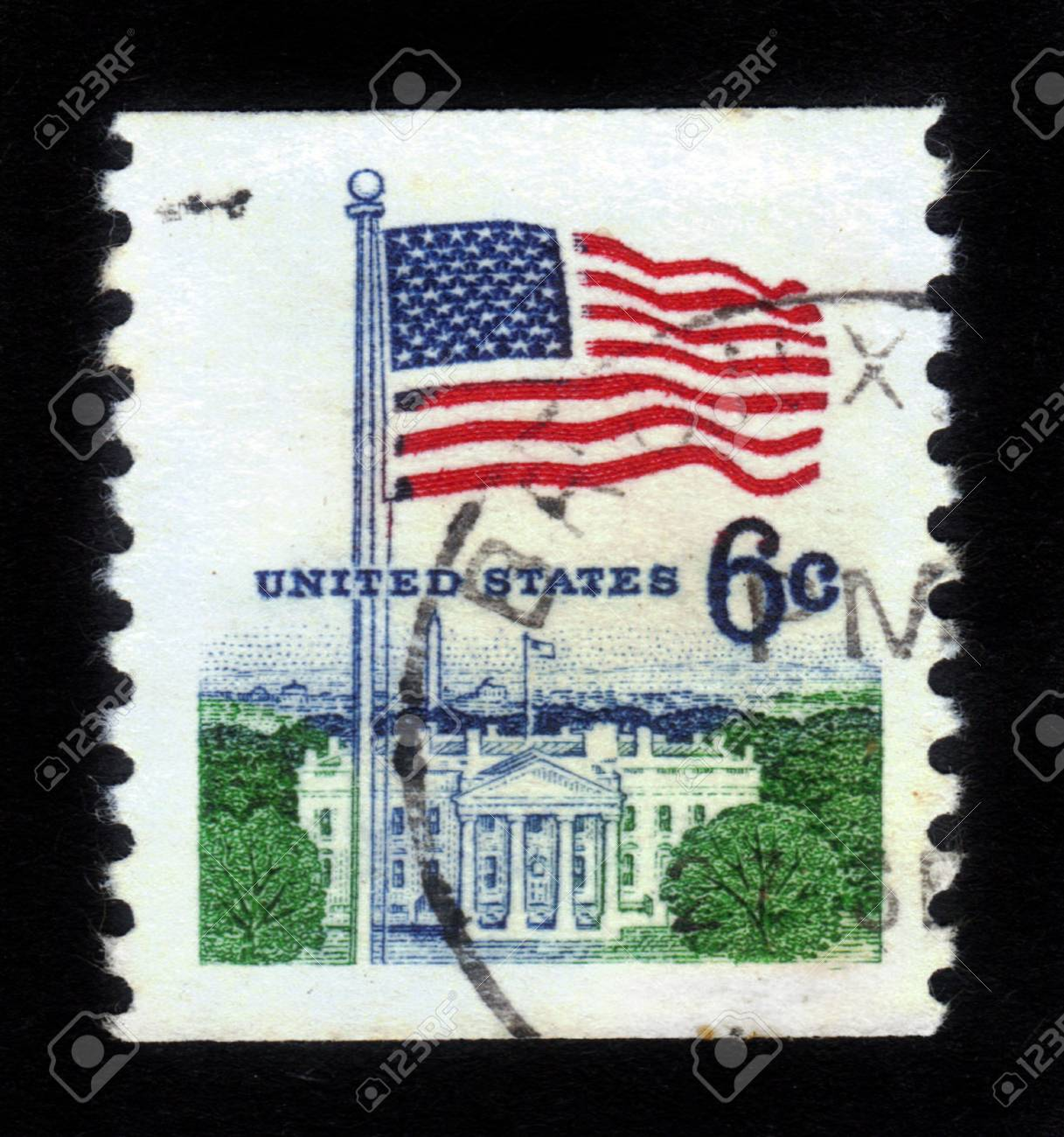 UNITED STATES - CIRCA 1967: stamp printed in United states (USA), shows image of White House and American Flag, from series