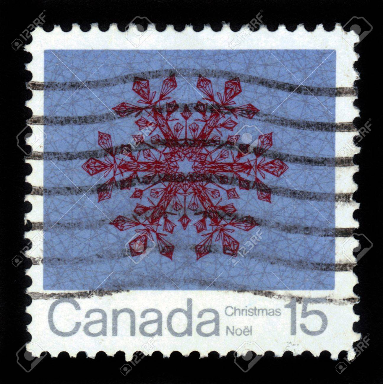 CANADA - CIRCA 1971: A stamp printed in the Canada shows snowflake for Christmas, circa 1971 Stock Photo - 16007413