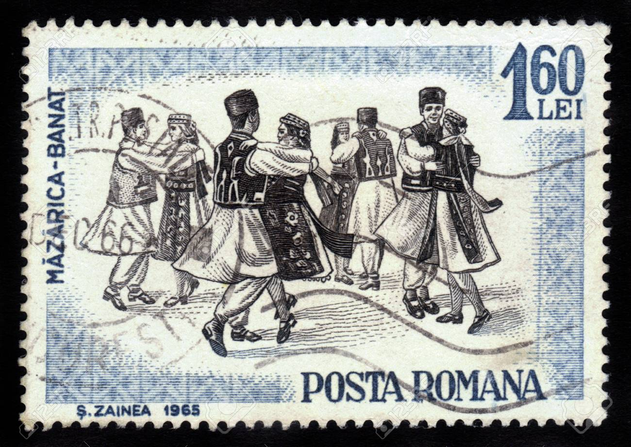 ROMANIA - CIRCA 1965: A stamp printed by Romania, shows folk dancers of Romania,  Banat region is the Southwestern region of Romania , circa 1965 Stock Photo - 16233031
