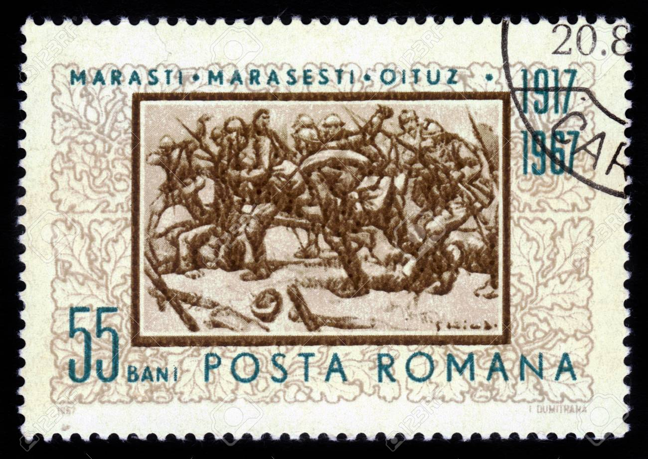 ROMANIA - CIRCA 1967: stamp printed by Romania, shows Battle of Marasesti, a major battle between the Russian-Romanian and German and Austrian troops, which occurred in the summer of 1917 , World War I by E. Stoica, circa 1967 Stock Photo - 16233030