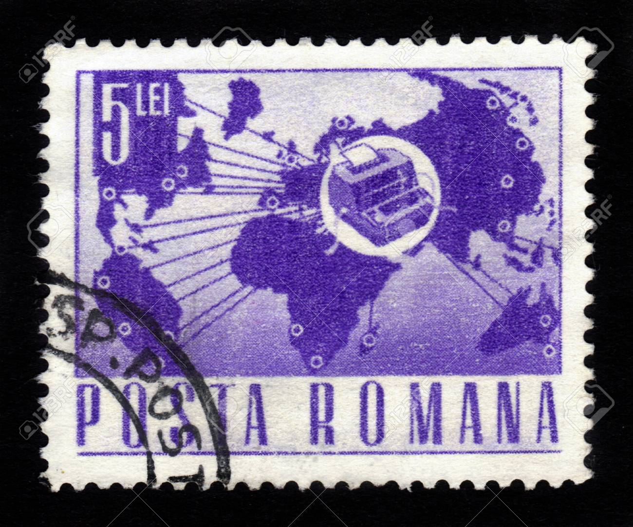 ROMANIA - CIRCA 1971  A stamp printed in Romania shows the World map and teletype , circa 1971 Stock Photo - 16233034