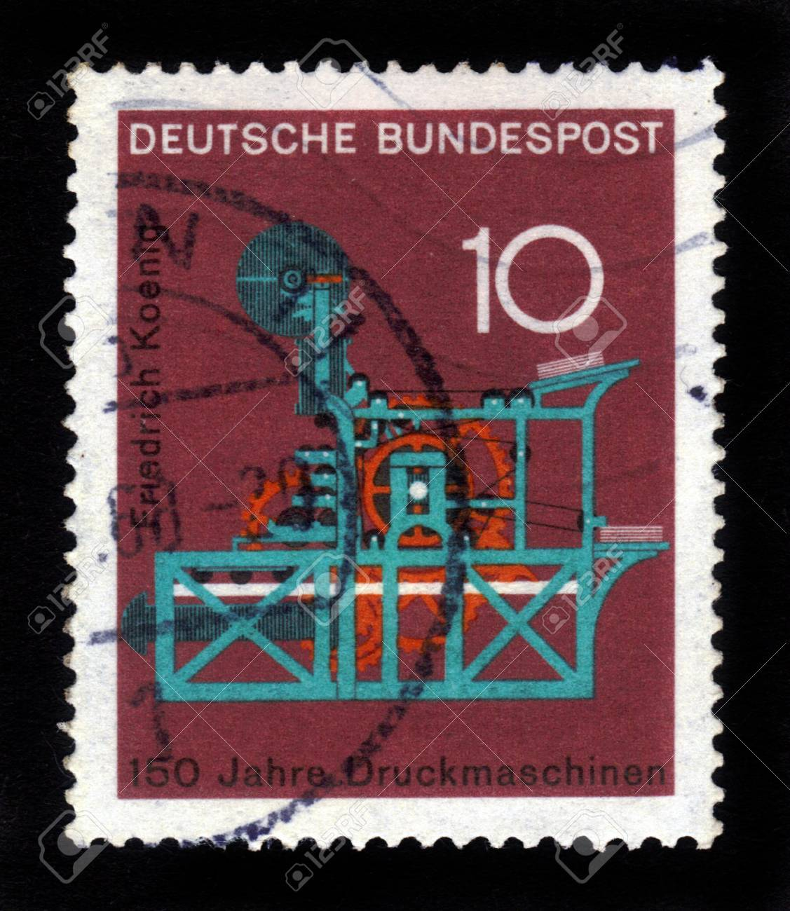 GERMANY - CIRCA 1968  a stamp printed in the Germany shows Koenig Printing Press, 150th anniversary of the Koenig printing press, circa 1968 Stock Photo - 16585819