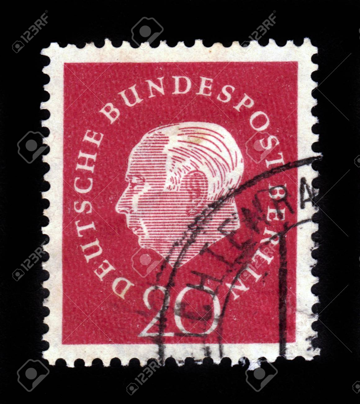 GERMANY - CIRCA 1959  a stamp printed in the Germany shows Theodor Heuss, 1st President of the Federal Republic of Germany, 1949-1959, circa 1959 Stock Photo - 16870032