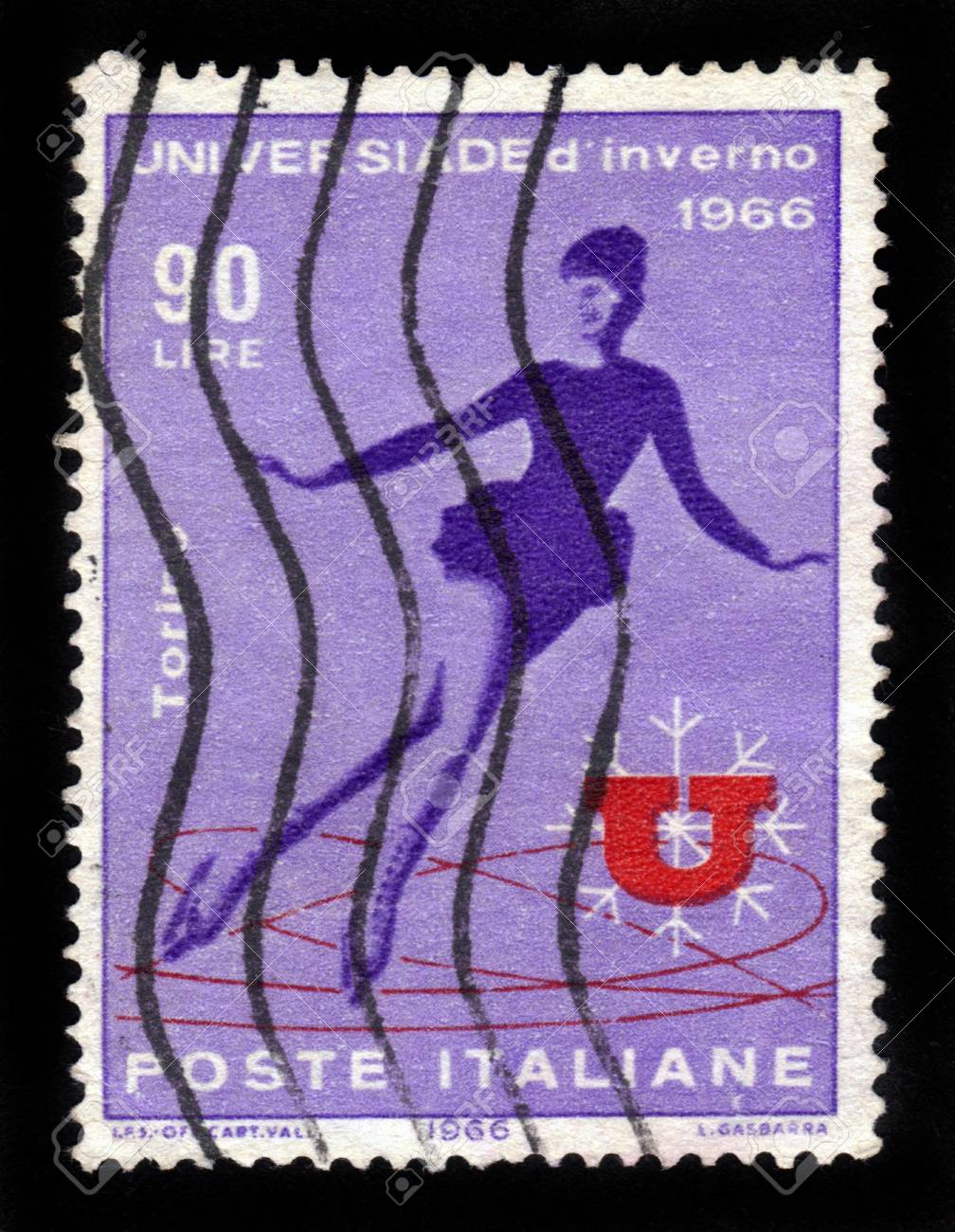 Italy - CIRCA 1966  stamp printed by Italy, shows women figure skating, universiade winter in Turin , circa 1966 Stock Photo - 16878671