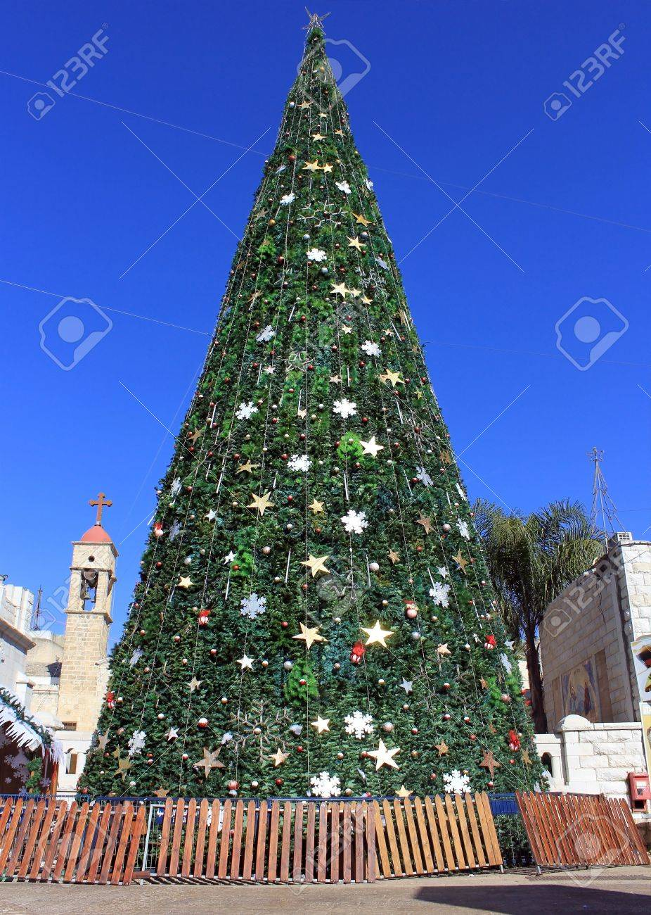 Christmas tree in the square in front of the Greek Orthodox Church of the Annunciation in Nazareth, Israel Stock Photo - 16944477