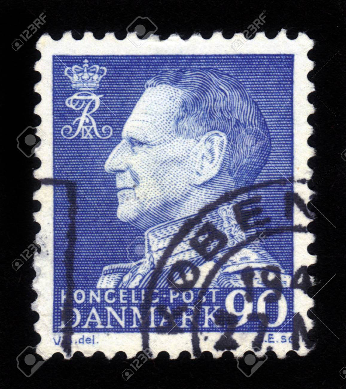 DENMARK-CIRCA 1965 A stamp printed in DENMARK shows image of Frederick IX  Christian Frederik Franz Michael Carl Valdemar Georg  was King of Denmark from 20 April 1947 until his death on 14 January 1972, circa 1965  Stock Photo - 16943116