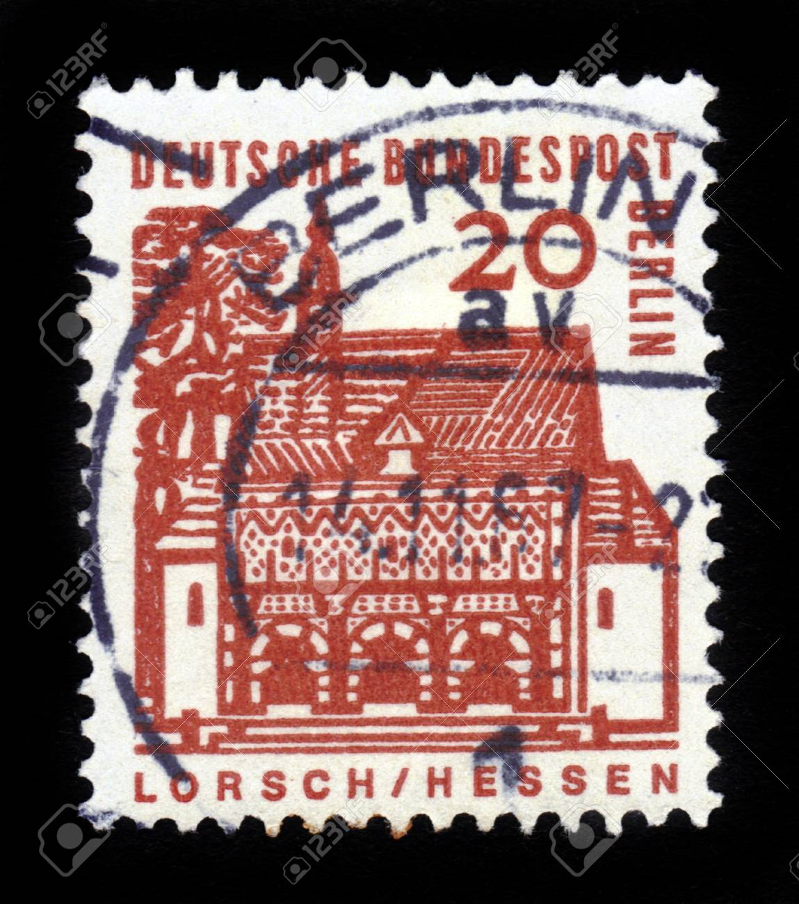 GERMANY-CIRCA 1964 A stamp printed in Germany shows image of the Abbey of Lorsch is a former Imperial Abbey in Lorsch, Germany, circa 1964  Stock Photo - 17326948