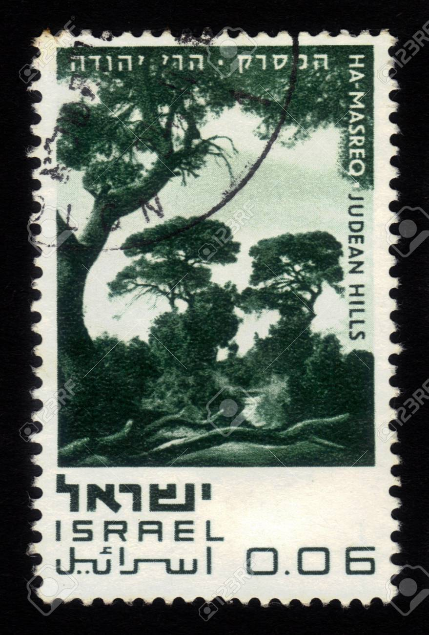 ISRAEL - CIRCA 1970  A stamp printed in Israel, shows Ha-Masreq - Judean Hills, series  Nature Reserves of Israel  ; series, circa 1970 Stock Photo - 17326951