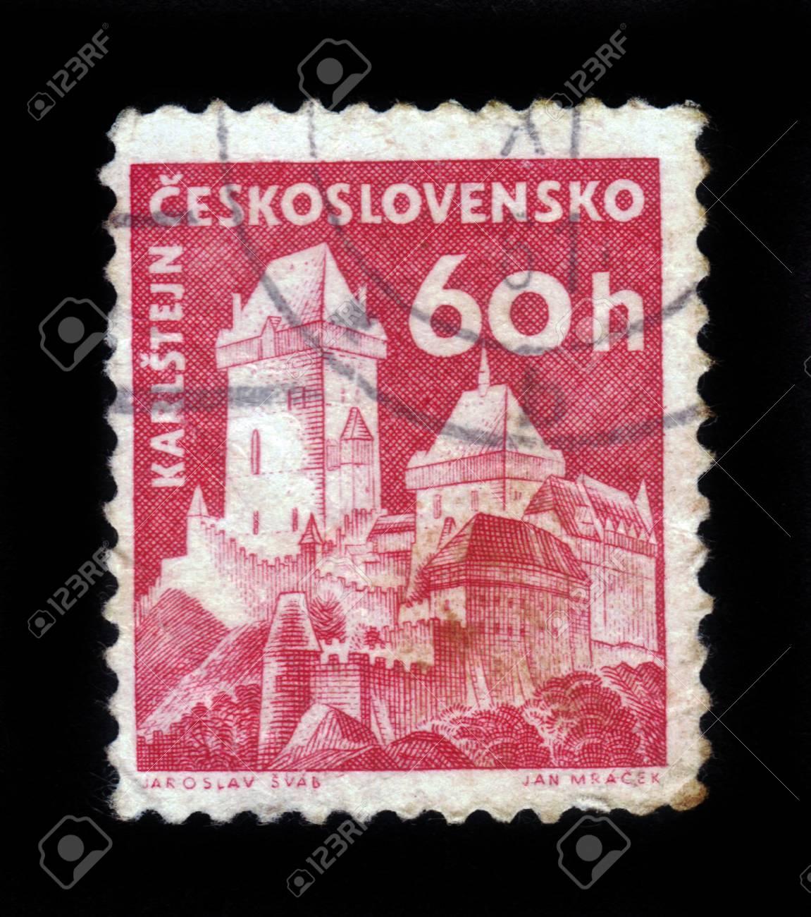 Czech Republic - CIRCA 1958: A stamp printed in Czechoslovakia shows image of Karlstejn Castle, series, circa 1958 Stock Photo - 17326957