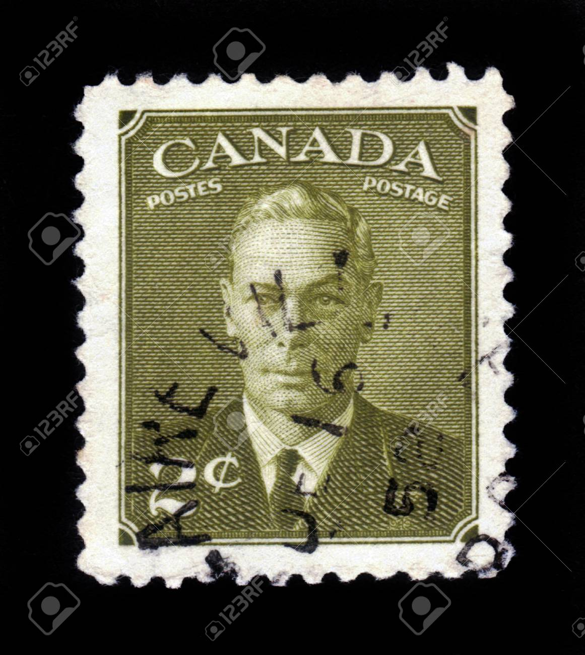 CANADA - CIRCA 1949 a stamp printed in the Canada shows King George VI, King of England, circa 1949 Stock Photo - 17326956