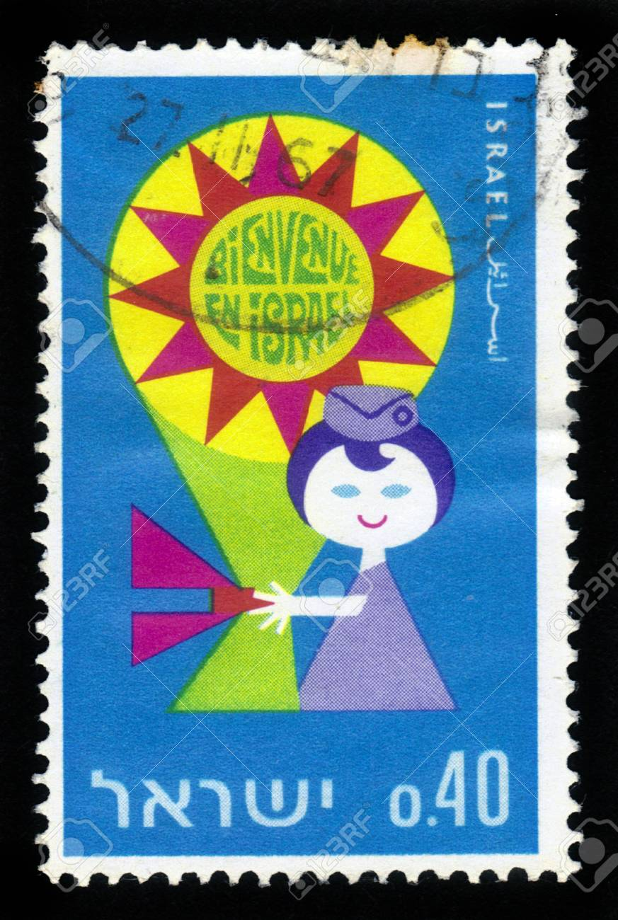 Israel - CIRCA 1967: a stamp printed in Israel shows stewardess holds a stylized bouquet with inscription ' Welcome to Israel ' in French, circa, 1967 Stock Photo - 17326961