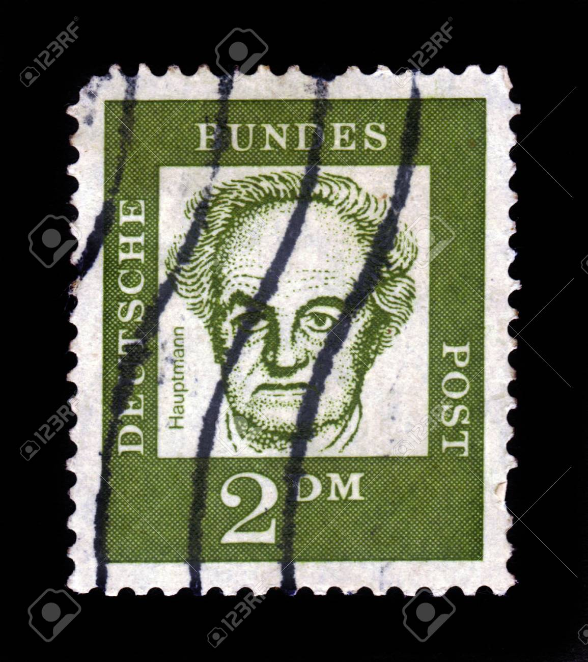 GERMANY - CIRCA 1961: A stamp printed in Germany  showing Gerhart Hauptmann - German dramatist and novelist who received the Nobel Prize in Literature in 1912, series famous germans, circa 1961. Stock Photo - 17491264