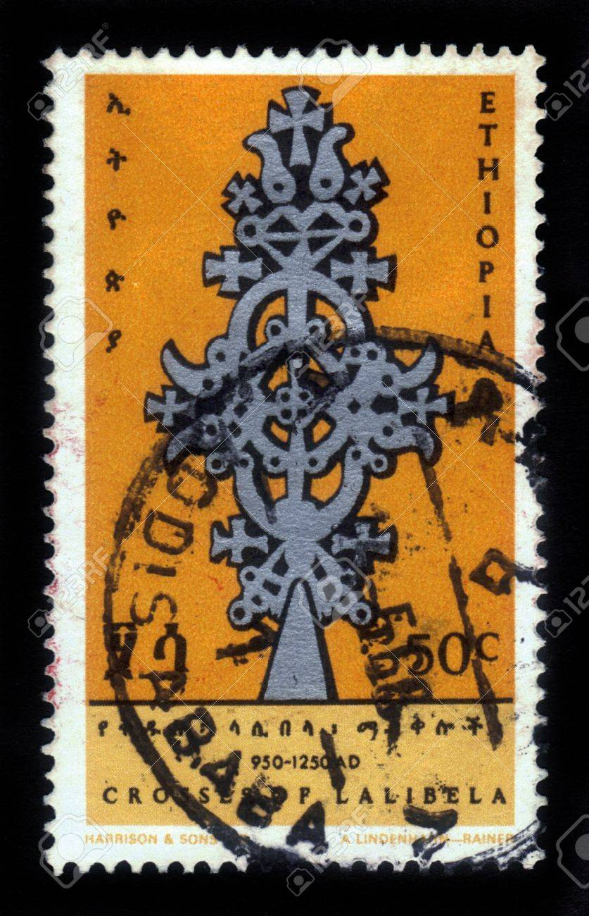 ETHIOPIA - CIRCA 1968  A stamp printed in Ethiopia shows image of  crosses of lalibela , circa 1968 Stock Photo - 17499371
