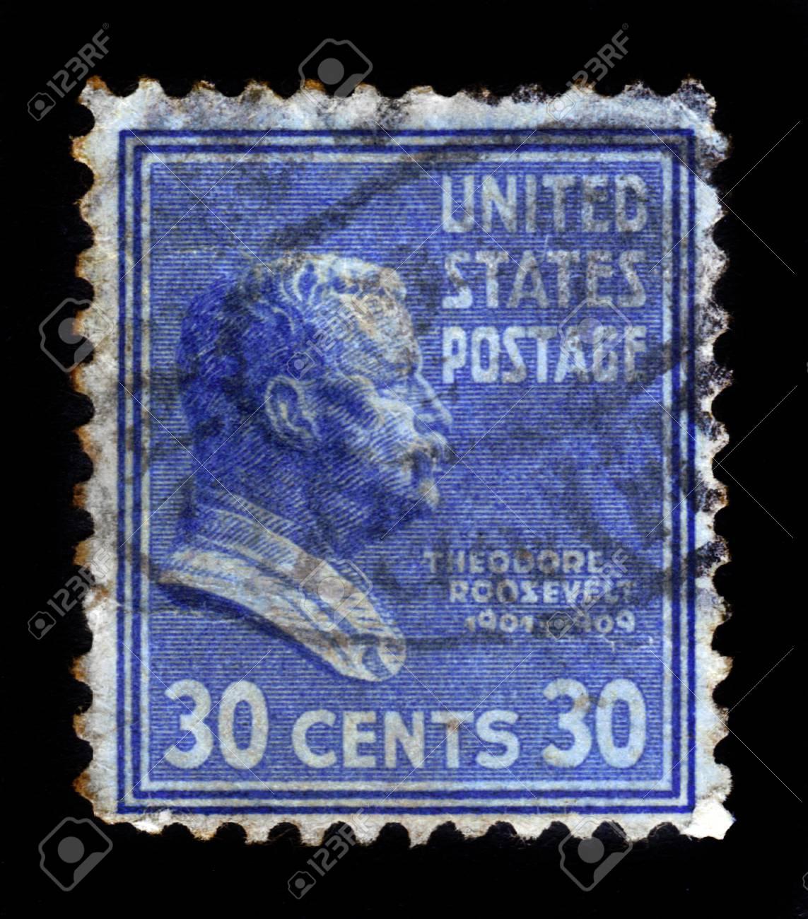UNITED STATES OF AMERICA - CIRCA 1938  a stamp printed in the United States of America shows Theodore Roosevelt, 26th President of USA 1901-1909, circa 1938 Stock Photo - 17491272