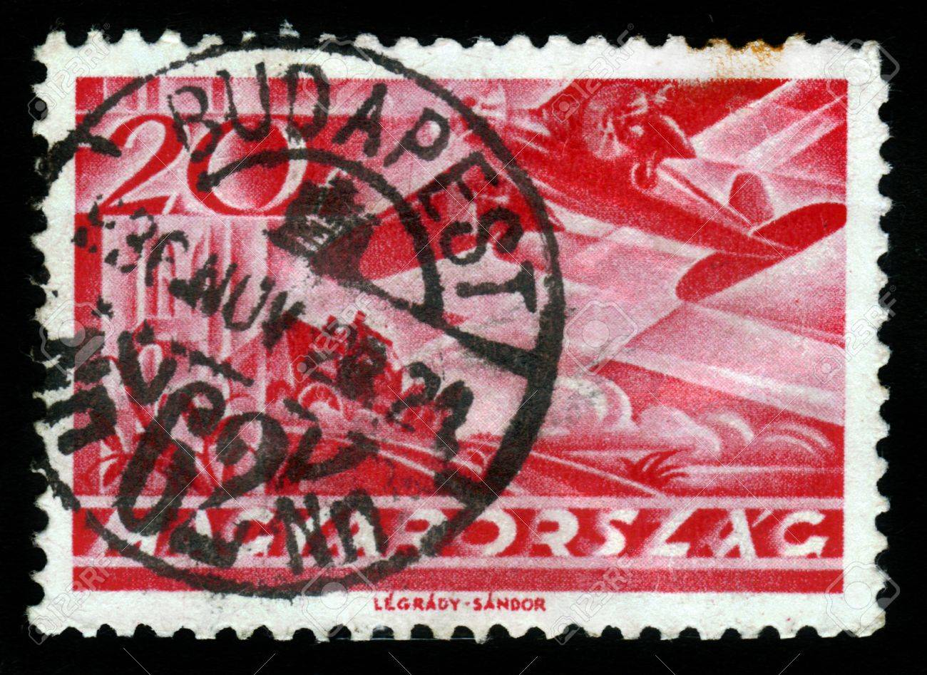 HUNGARY - CIRCA 1962  stamp printed by Hungary, shows plane and horse carriage, circa 1962 Stock Photo - 19010085