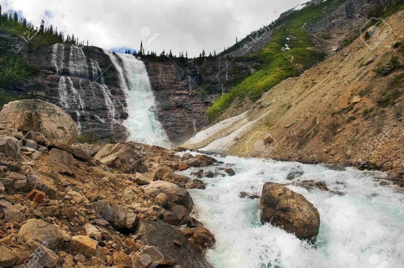 beautiful landscapes with picturesque waterfall and rapid mountain river in Banff National Park, Alberta, Canada Stock Photo - 19016944