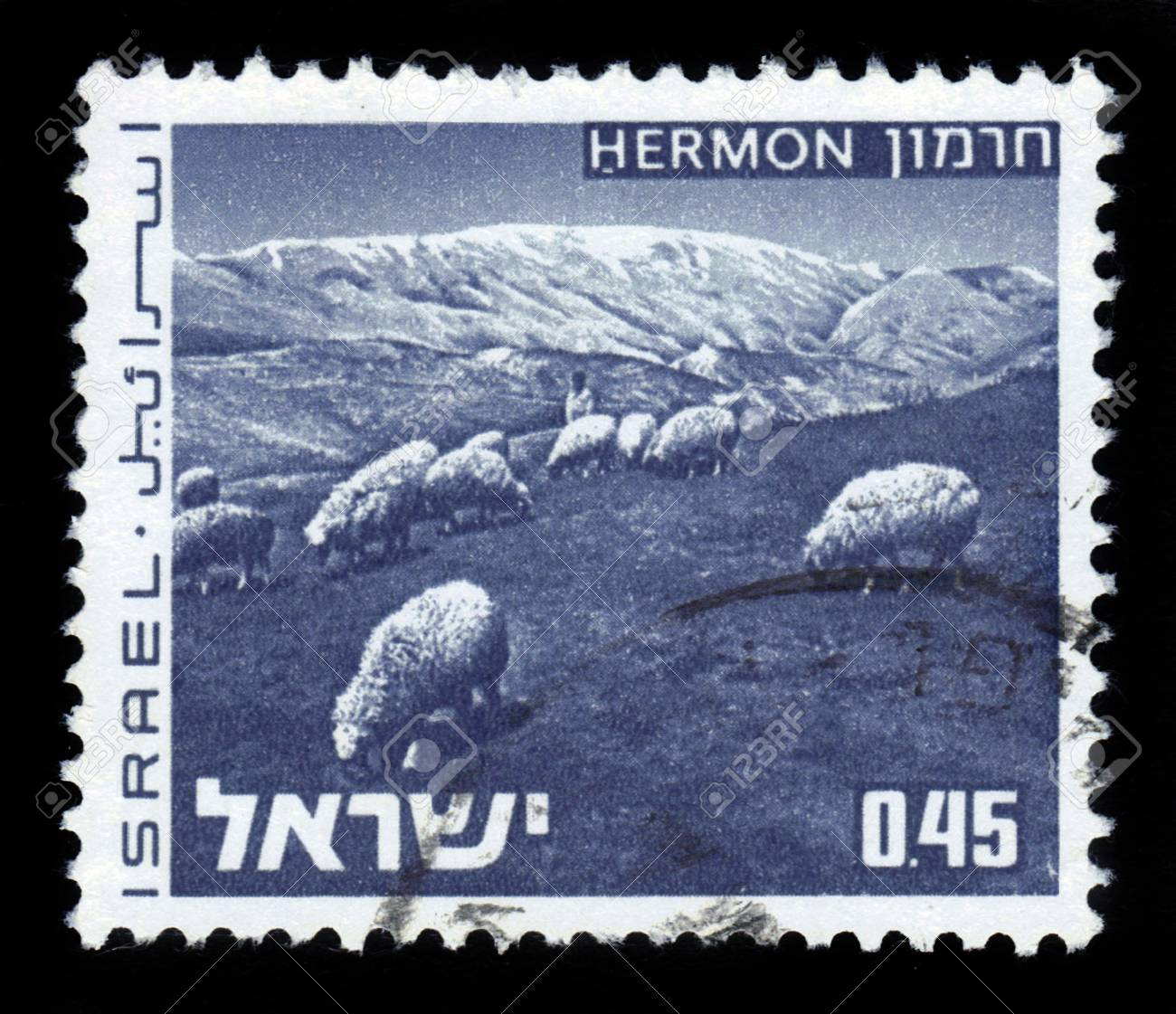 ISRAEL - CIRCA 1973: A stamp printed in Israel, shows herd of sheep on Mount Hermon, series