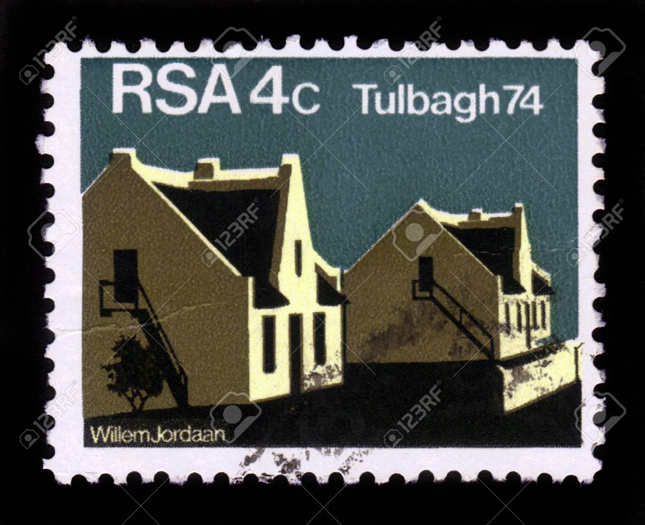 REPUBLIC OF SOUTH AFRICA - CIRCA 1974  stamp printed in Republic of South Africa shows Country Guest House in Dutch Quarters of Tulbagh , circa 1974 Stock Photo - 19391248