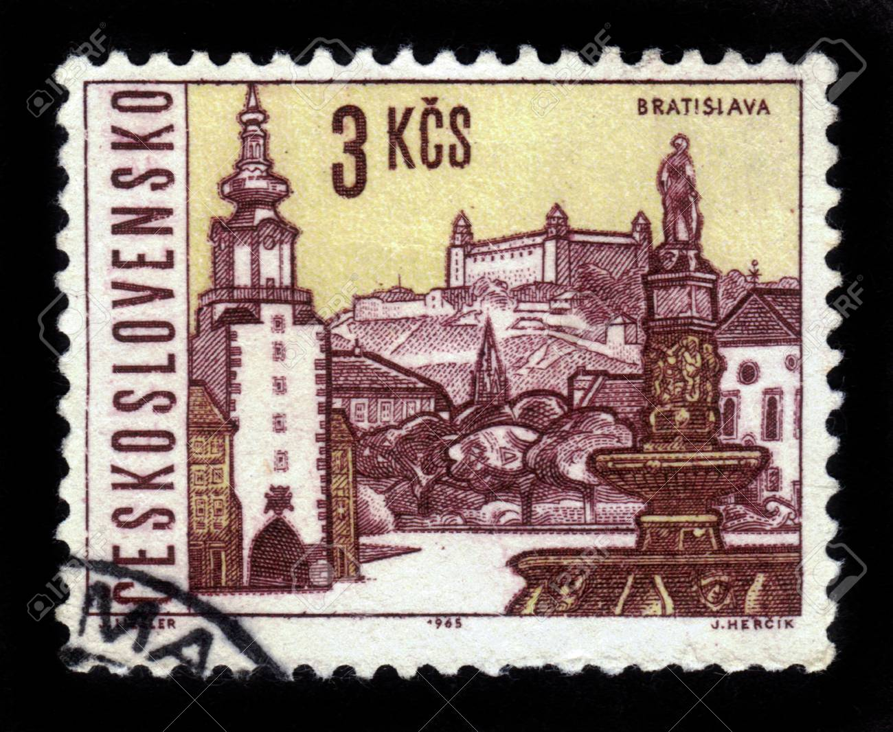 CZECHOSLOVAKIA - CIRCA 1965  A stamp printed in Czechoslovakia shows attractions of Bratislava, the capital of Slovakia, circa 1965 Stock Photo - 19391253