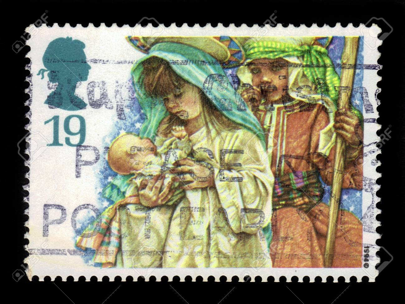 GREAT BRITAIN - CIRCA 1994  a stamp printed in the Great Britain shows Christmas  Children s Nativity Plays - Virgin Mary and Joseph, Christmas Card, circa 1994 Stock Photo - 21595578