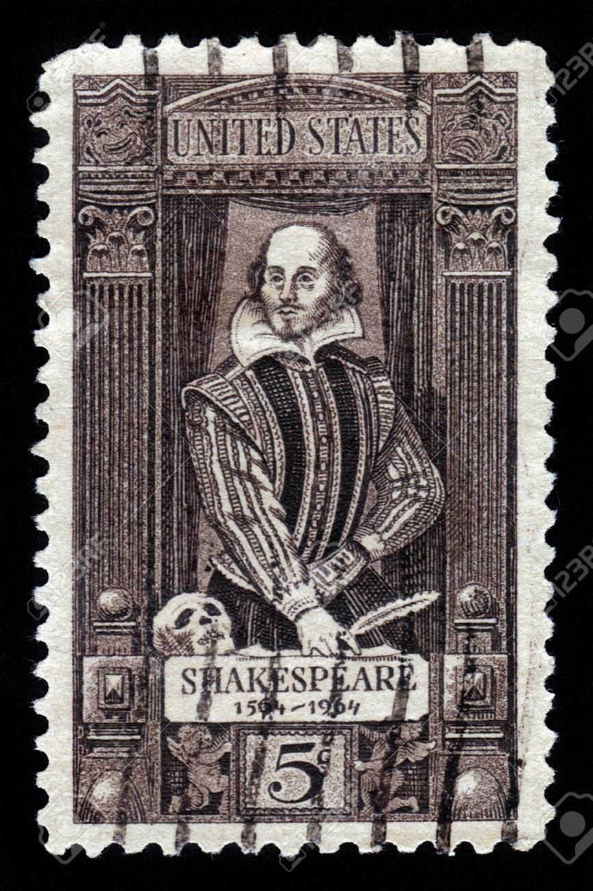 UNITED STATES OF AMERICA - CIRCA 1964  stamp printed in USA shows a portrait of William Shakespeare  400th anniversary of the birth of Shakespeare, circa 1964 Stock Photo - 22688750