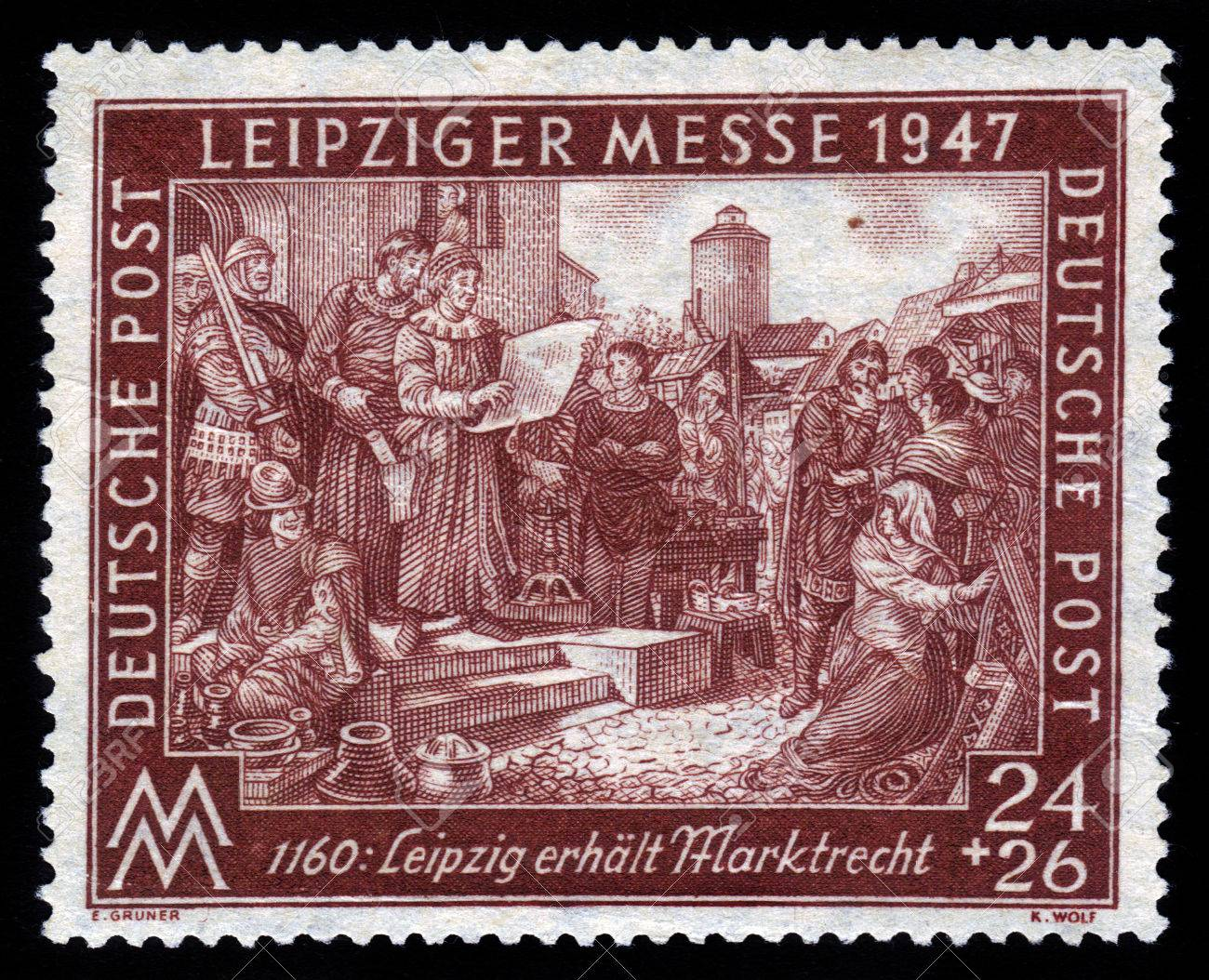 GERMANY - CIRCA 1947 A Stamp Times Of The Allied Occupation ...