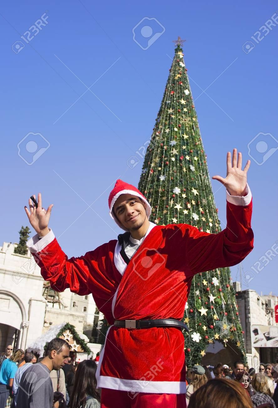 Greek Orthodox Christmas.Nazareth Israel December 21 People Celebrate The Christmas