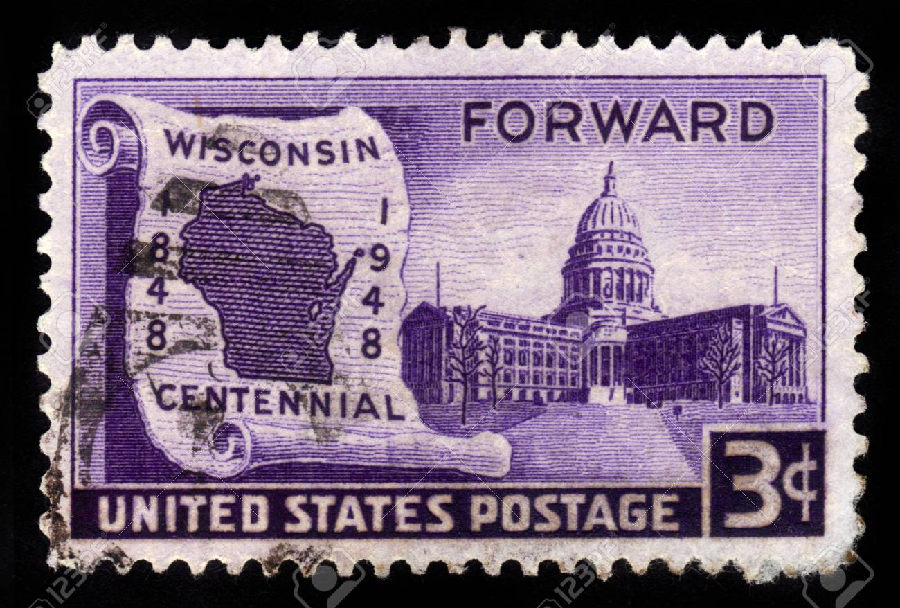UNITED STATES OF AMERICA CIRCA  A Stamp Printed In USA - United states map that shows the capitals