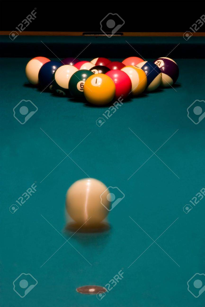 White Ball Is Rolling To Break The Racked Billiard Balls On The - Rolling pool table