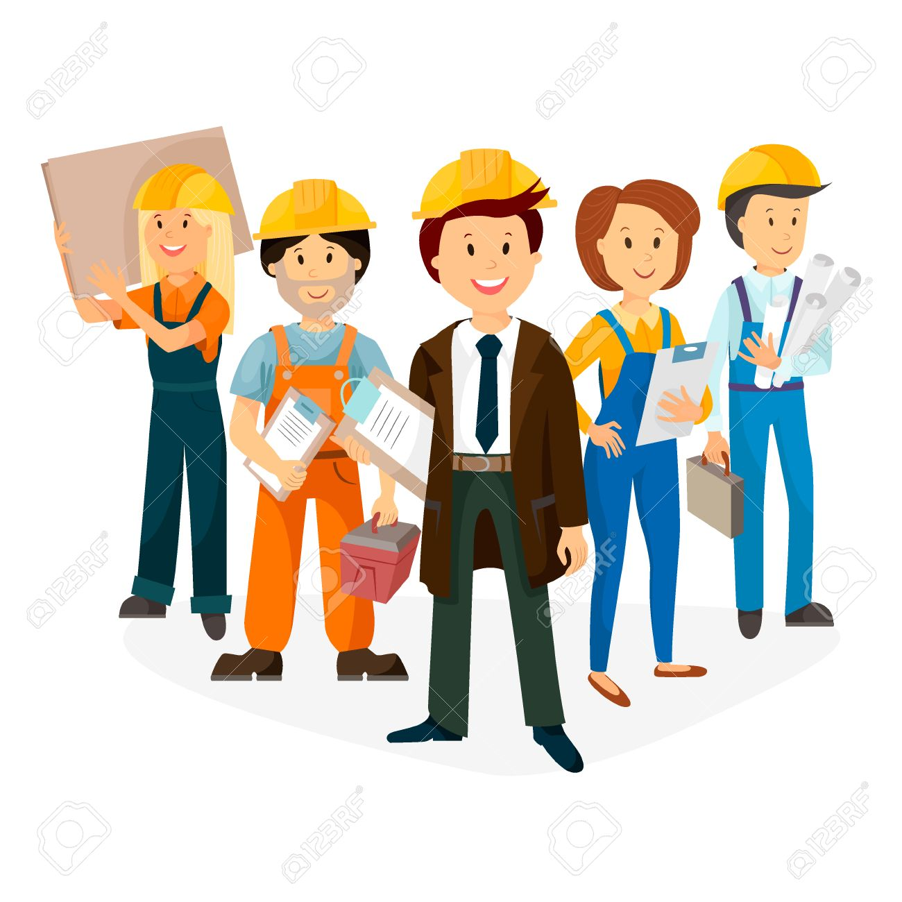 foreman and workers team of builders laborers vector royalty free rh 123rf com