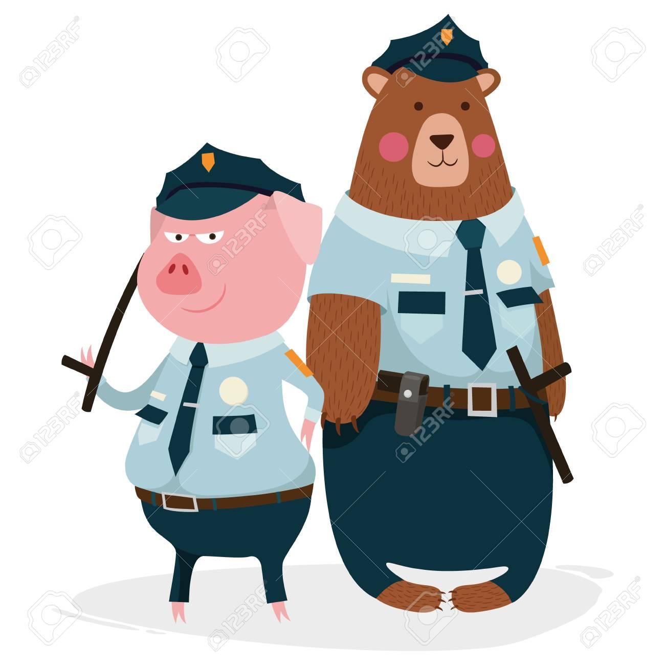 クマとブタの警官文字仲間 ロイヤリティフリークリップアート、ベクター