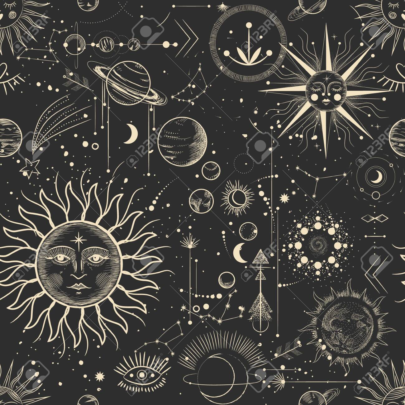 Vector illustration set of moon phases. Different stages of moonlight activity in vintage engraving style. Zodiac signs - 132816985