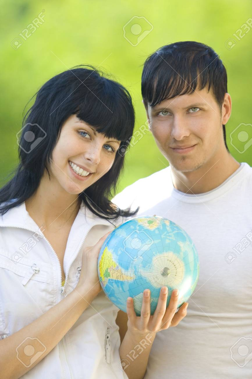 friends with globe have fun Stock Photo - 3686329