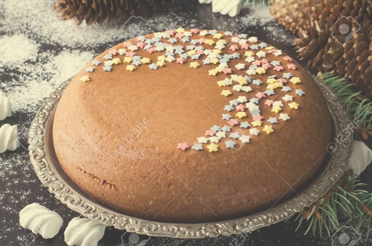 Traditional Homemade Chocolate Christmas Cake With Sugar Stars