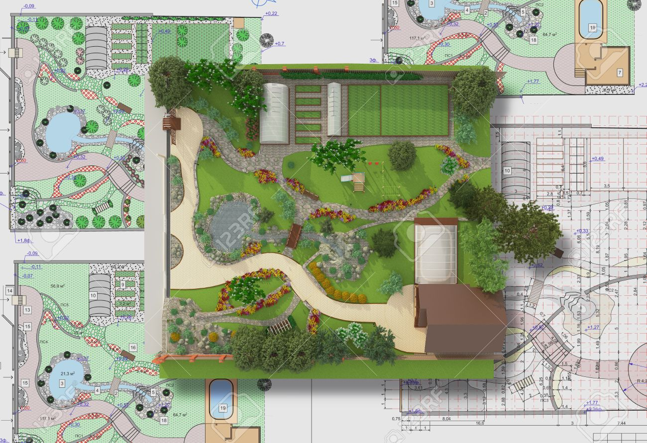 landscape architect design traditional chinese garden plan stock photo 54474362