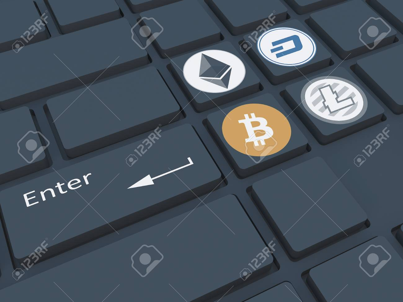 Crypto Currency Keyboard With Symbols Mining Of Crypto Currency