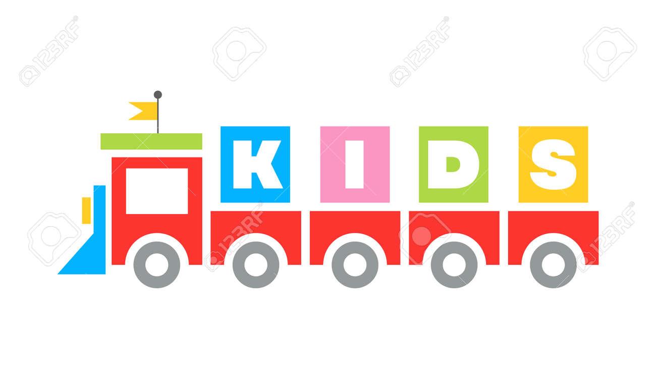 Funny Kids toy railway Train cartoon flat design Template icon kindergarten, sign playground - 165659762