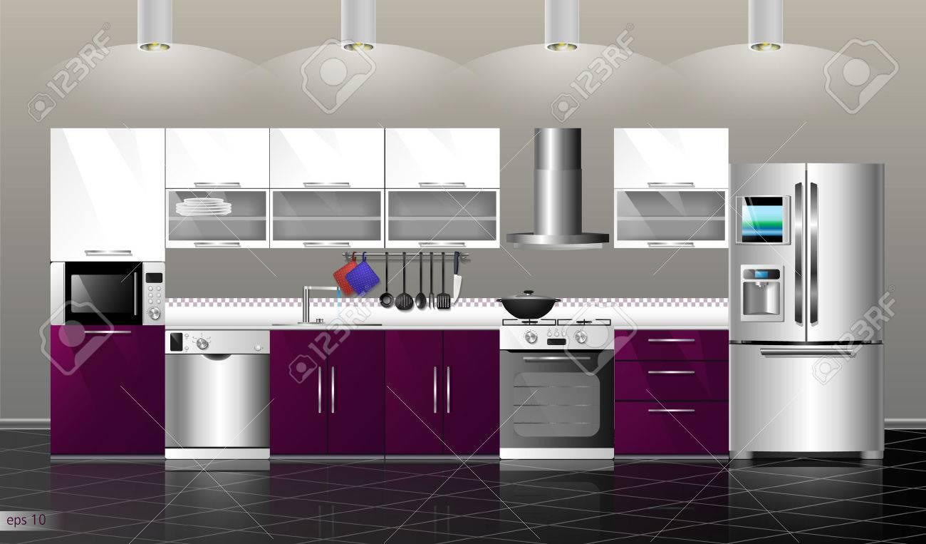Moderne Küche Unter. Vector Illustration Küche Lila. Haushalt ...