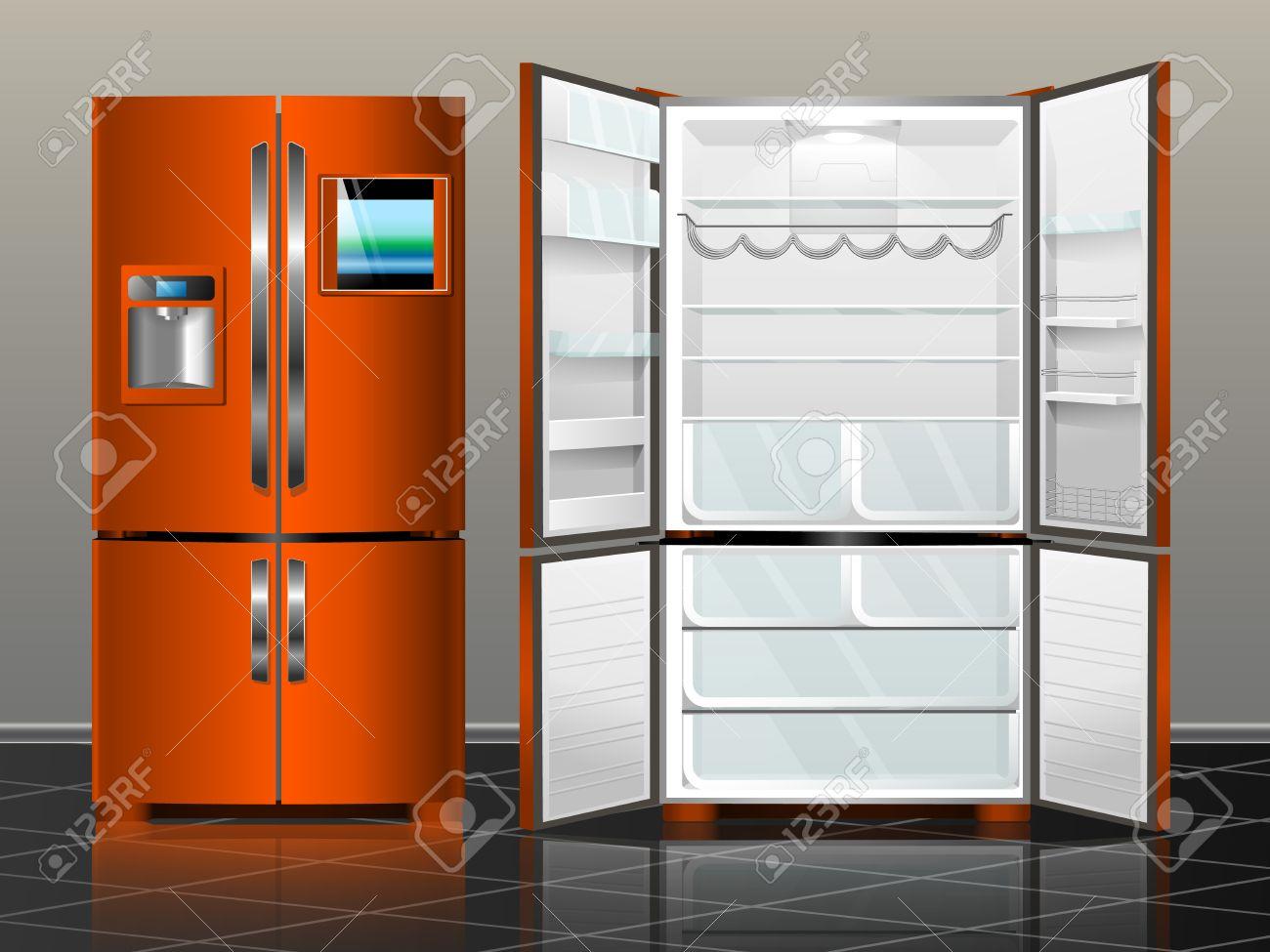 Retro Kühlschrank Orange : Ffnen kühlschrank mit gefrierfach geschlossen kühlschrank vektor