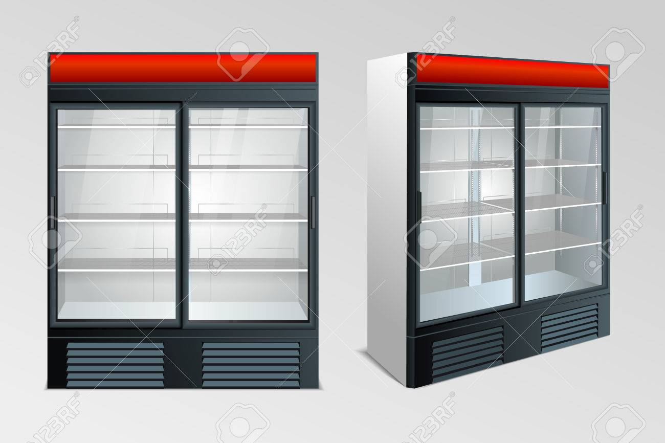 Kuhlschrank Mit Transparentem Glas Isoliert Kuhlschrank