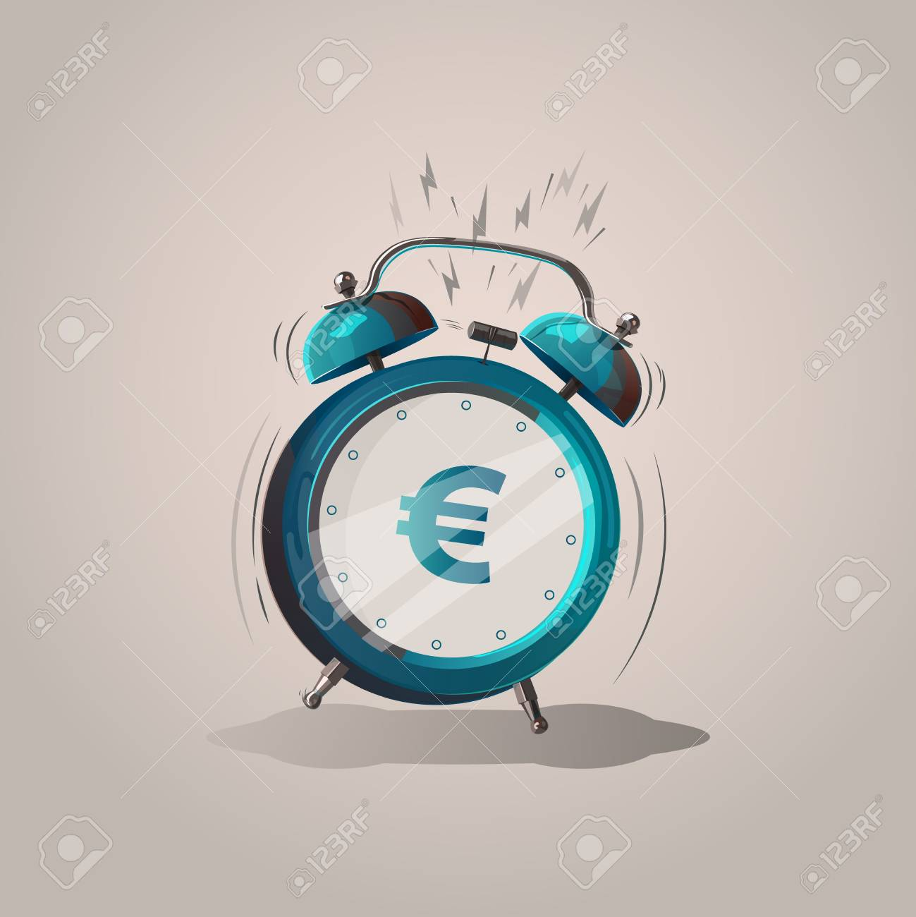Euro Sign Cartoon Alarm Clock Vector Illustration Isolated